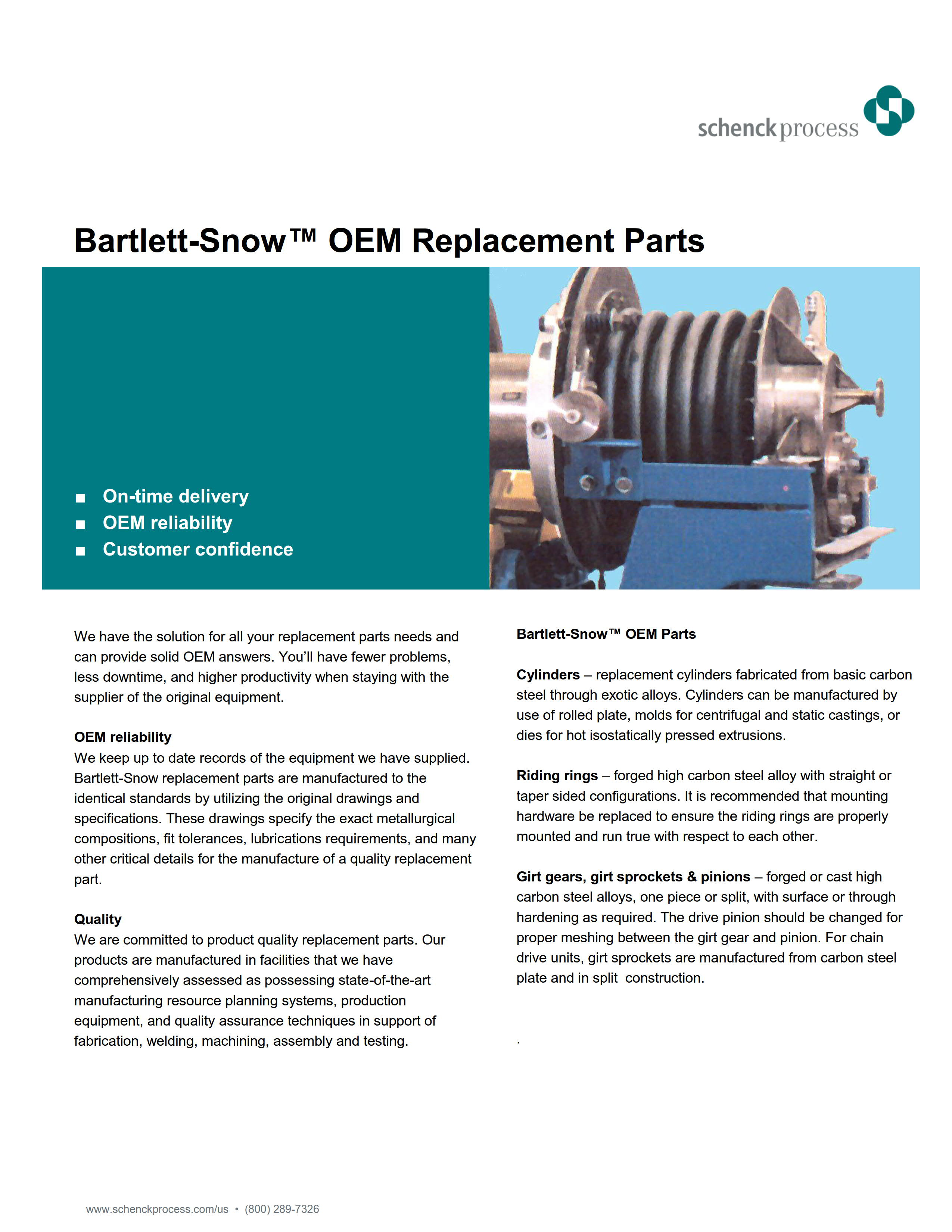 Bartlett-Snow™ OEM Replacement Parts