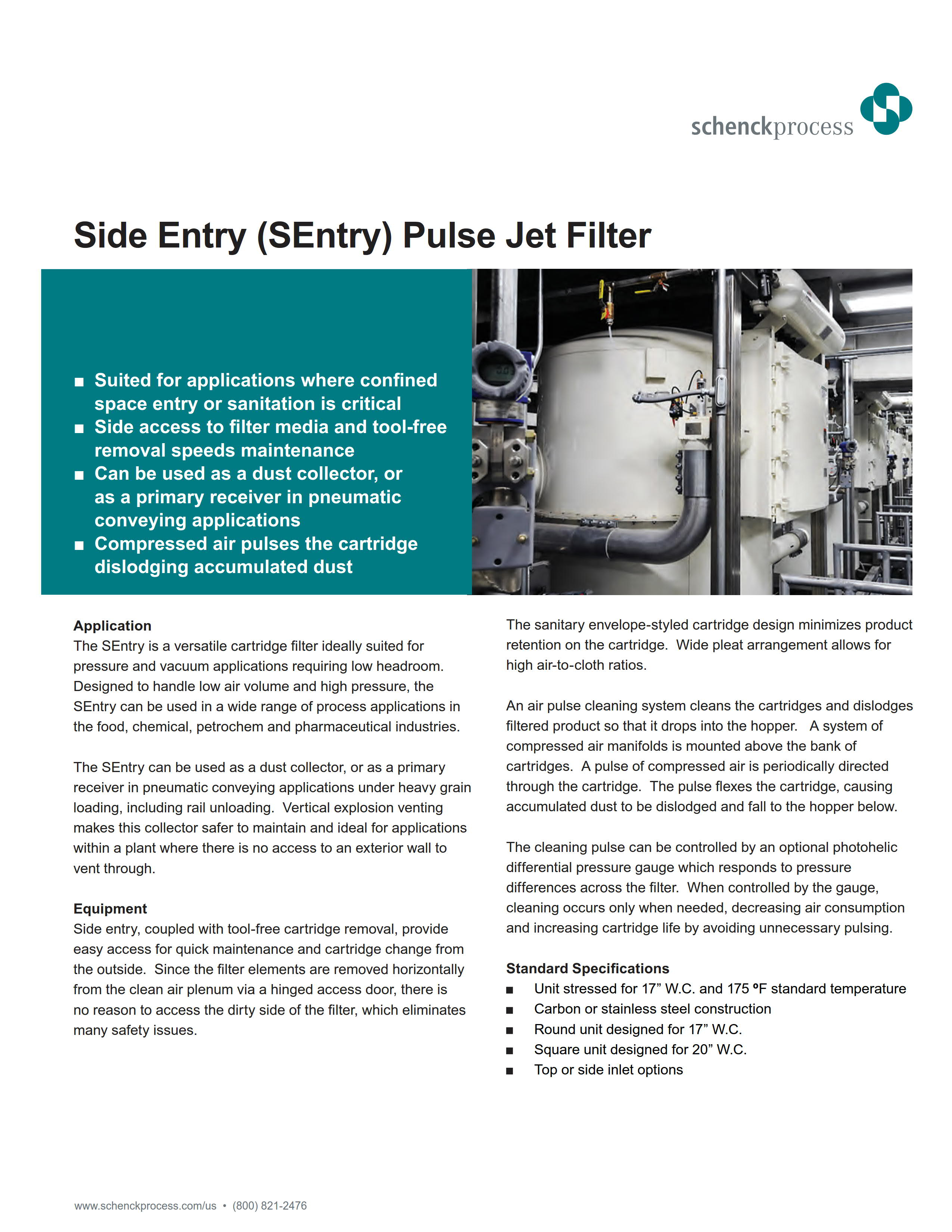 Side Entry (SEntry) Pulse Jet Filter