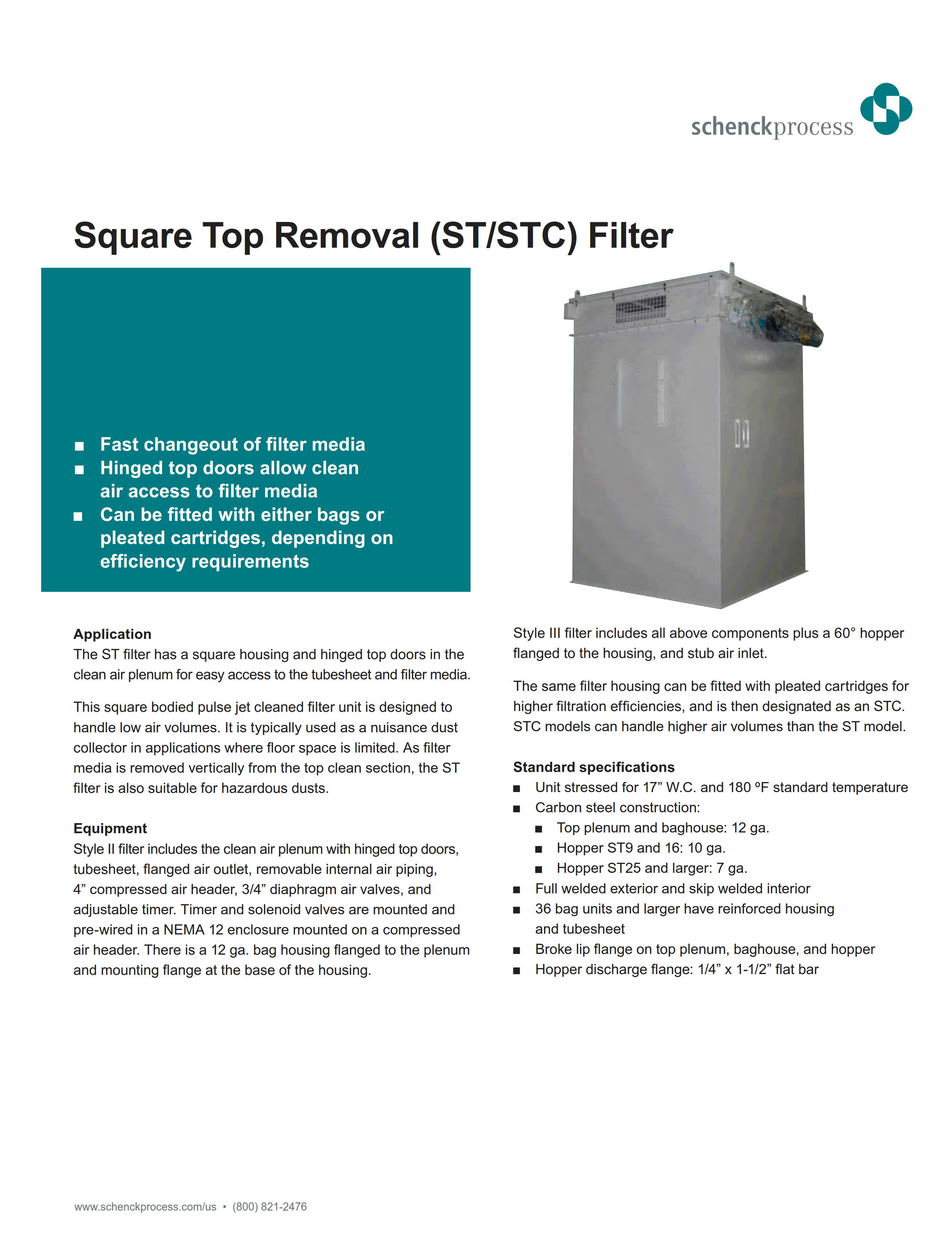 Square Top Removal (ST/STC) Filter