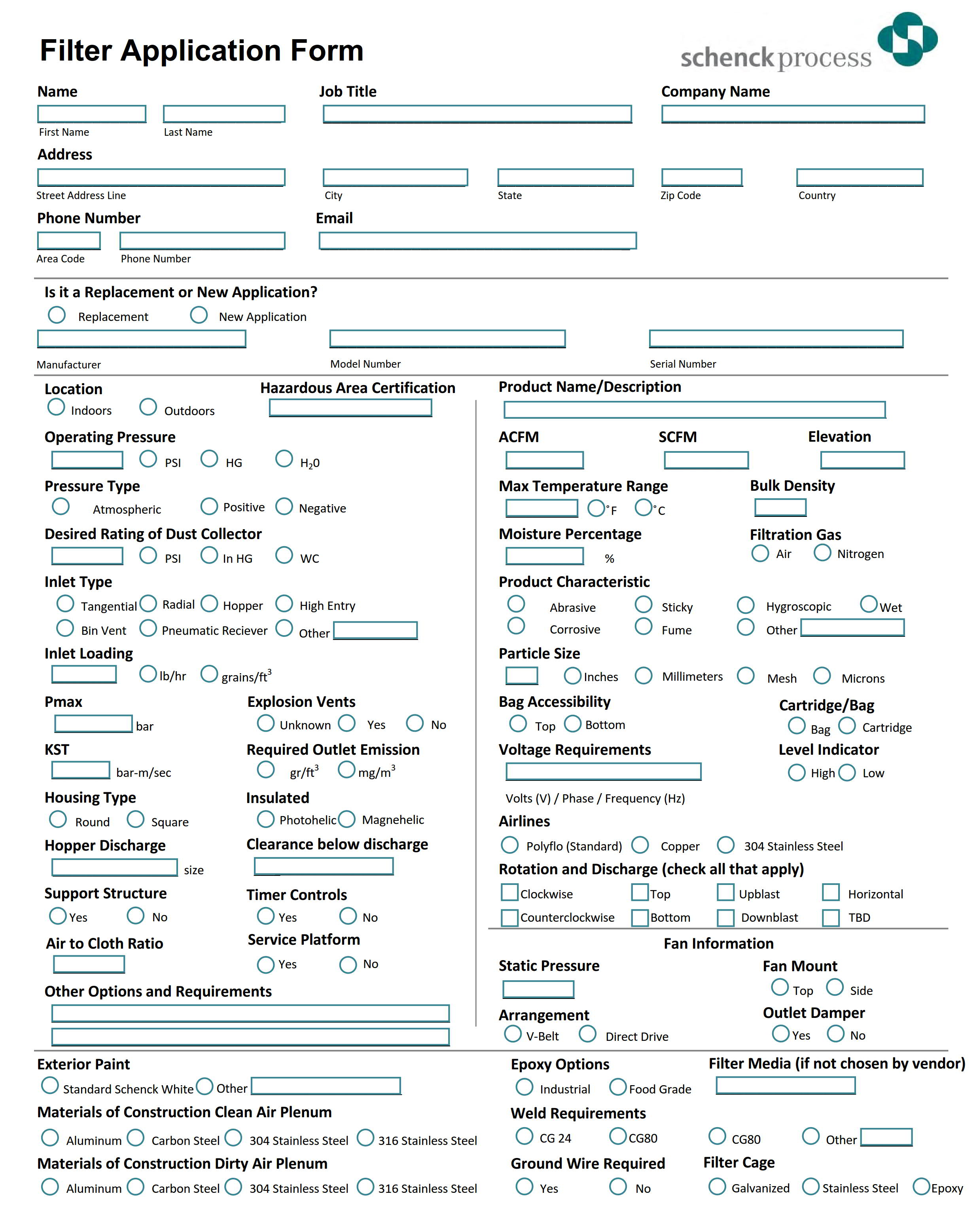 Filter Application Form