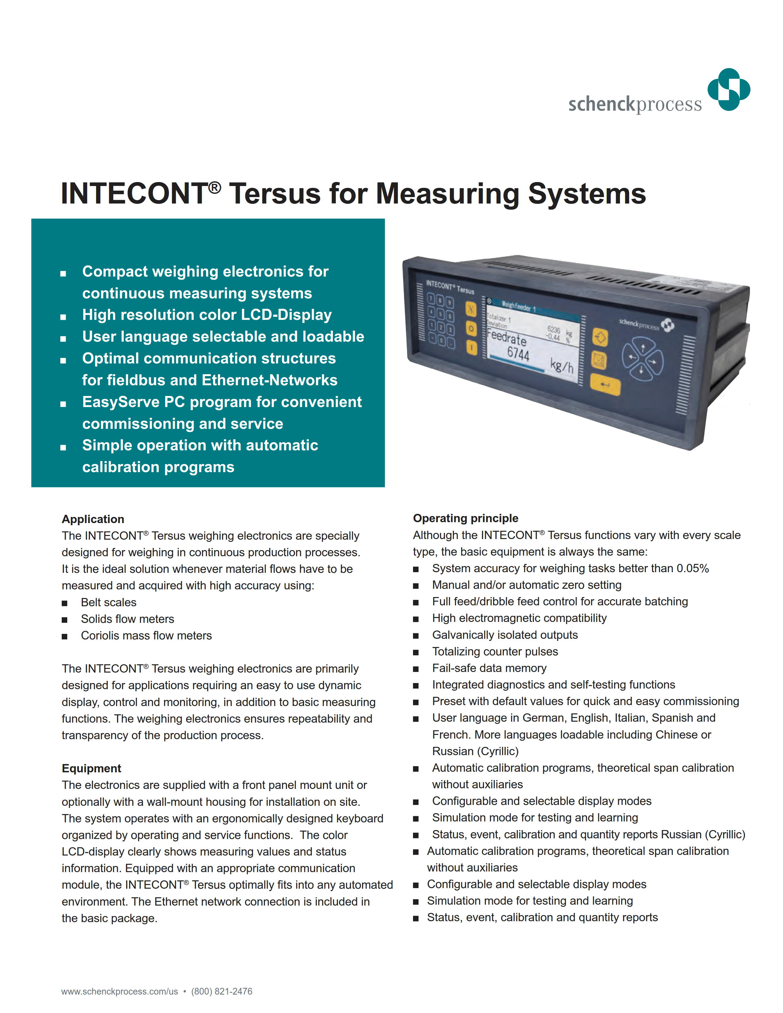 INTECONT Tersus For Measuring Systems